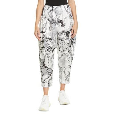 Stella Mccartney Rosalinda Horse Print Pleated Silk Crop Pants, US / 40 IT - White