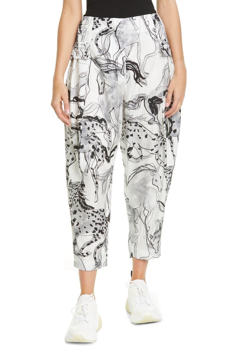 STELLA MCCARTNEY Rosalinda Horse Print Pleated Silk Crop Pants, Main, color, MULTICOLOR