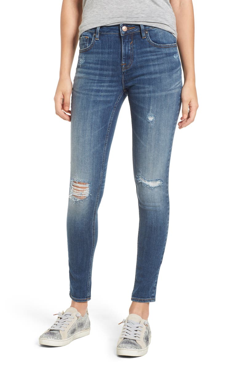 VIGOSS Jagger Ripped Skinny Jeans, Main, color, MED WASH