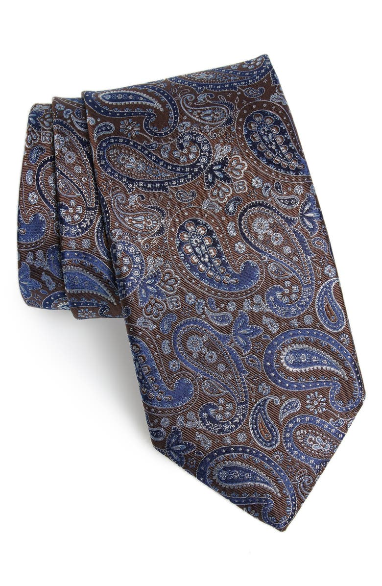 CANALI Paisley Silk Tie, Main, color, BROWN