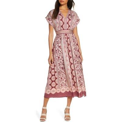 Gal Meets Glam Collection Liza Print Charmeuse Dress, Burgundy