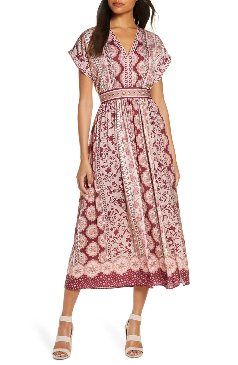 GAL MEETS GLAM COLLECTION Liza Print Charmeuse Dress, Main, color, WINE/ TAUPE
