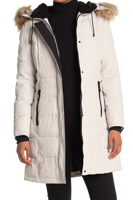 Image of Nine West Faux Shearling & Faux Fur Trim Hooded Puffer Parka