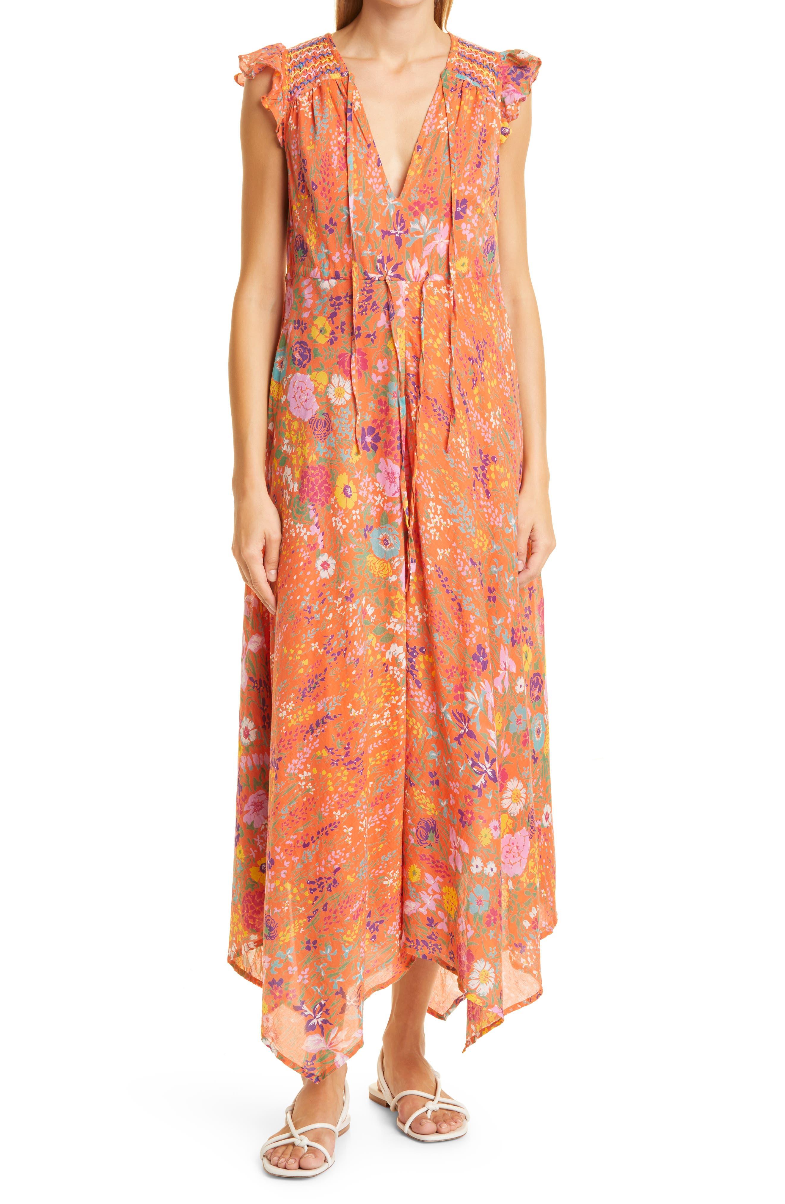 Elna Geometric Ruffle Midi Organic Cotton Dress