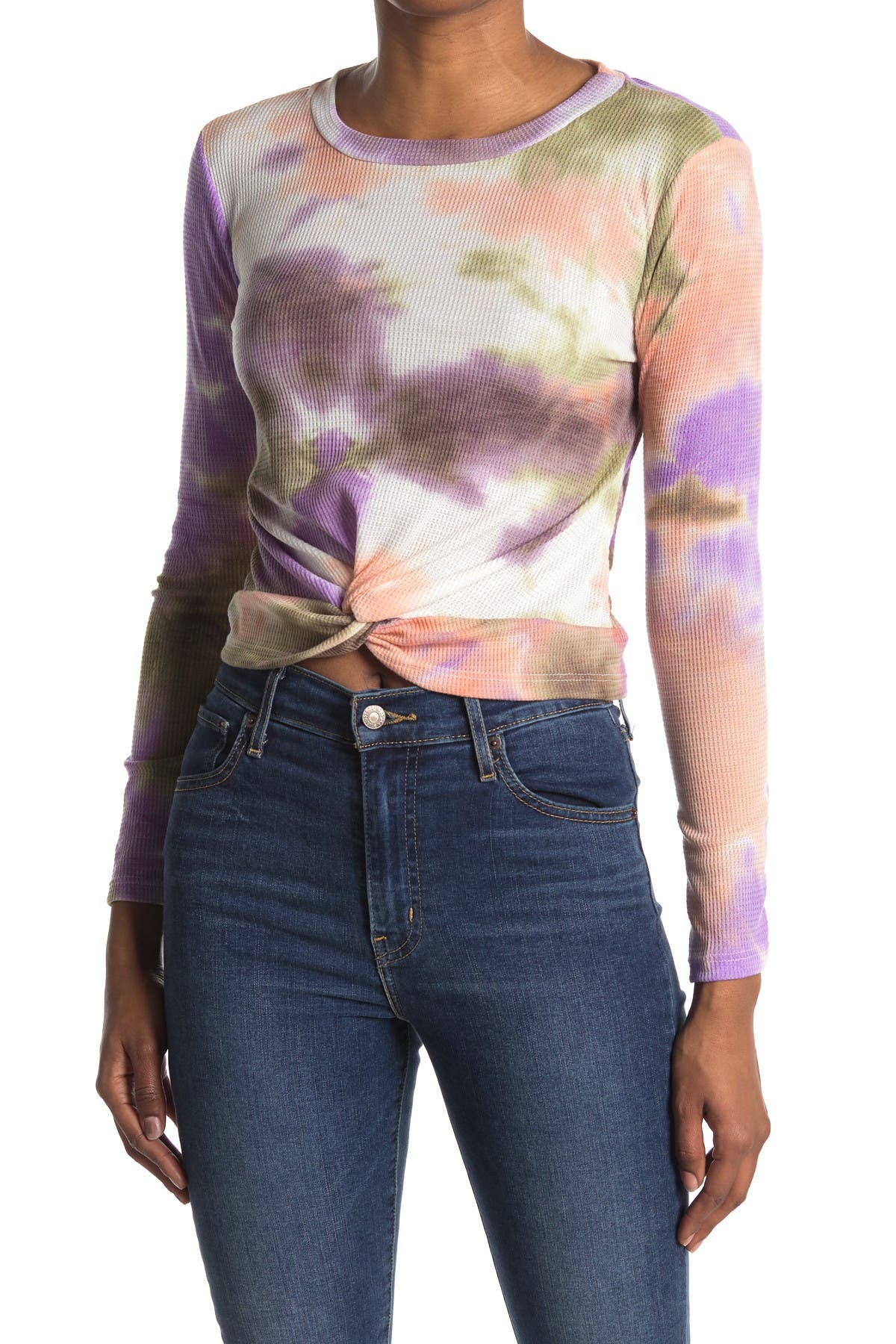 Image of Lush Long Sleeve Tie Dye Print Twisted Top