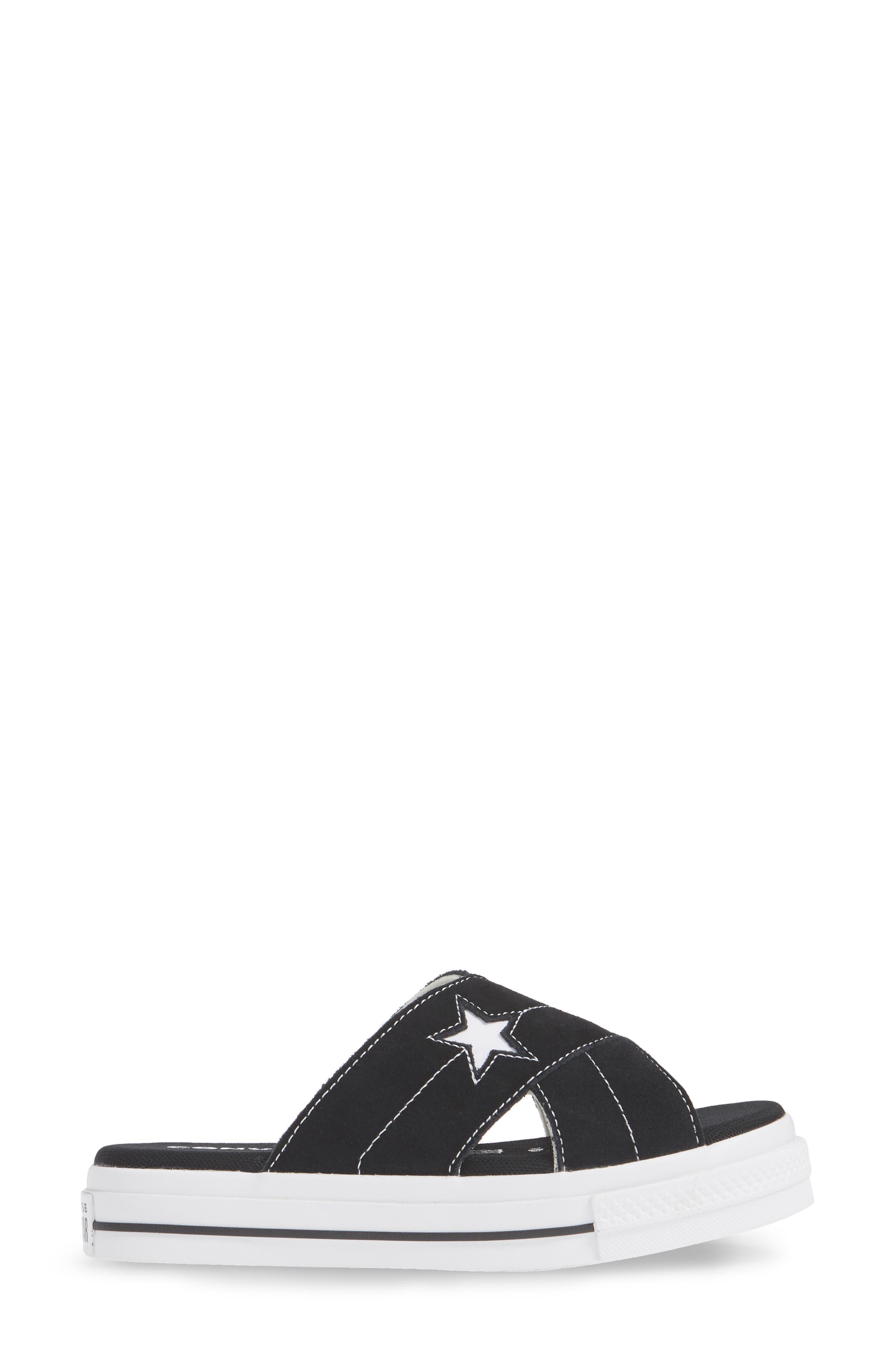 ,                             One Star Platform Slide Sandal,                             Alternate thumbnail 3, color,                             BLACK/ EGRET/ WHITE