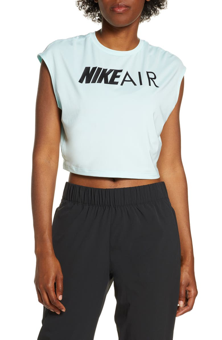 NIKE Air Graphic Dri-FIT Crop Tee, Main, color, TEAL TINT/ BLACK