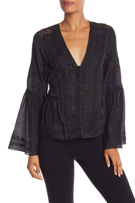 Image of BCBGMAXAZRIA Long Sleeve Bell Blouse