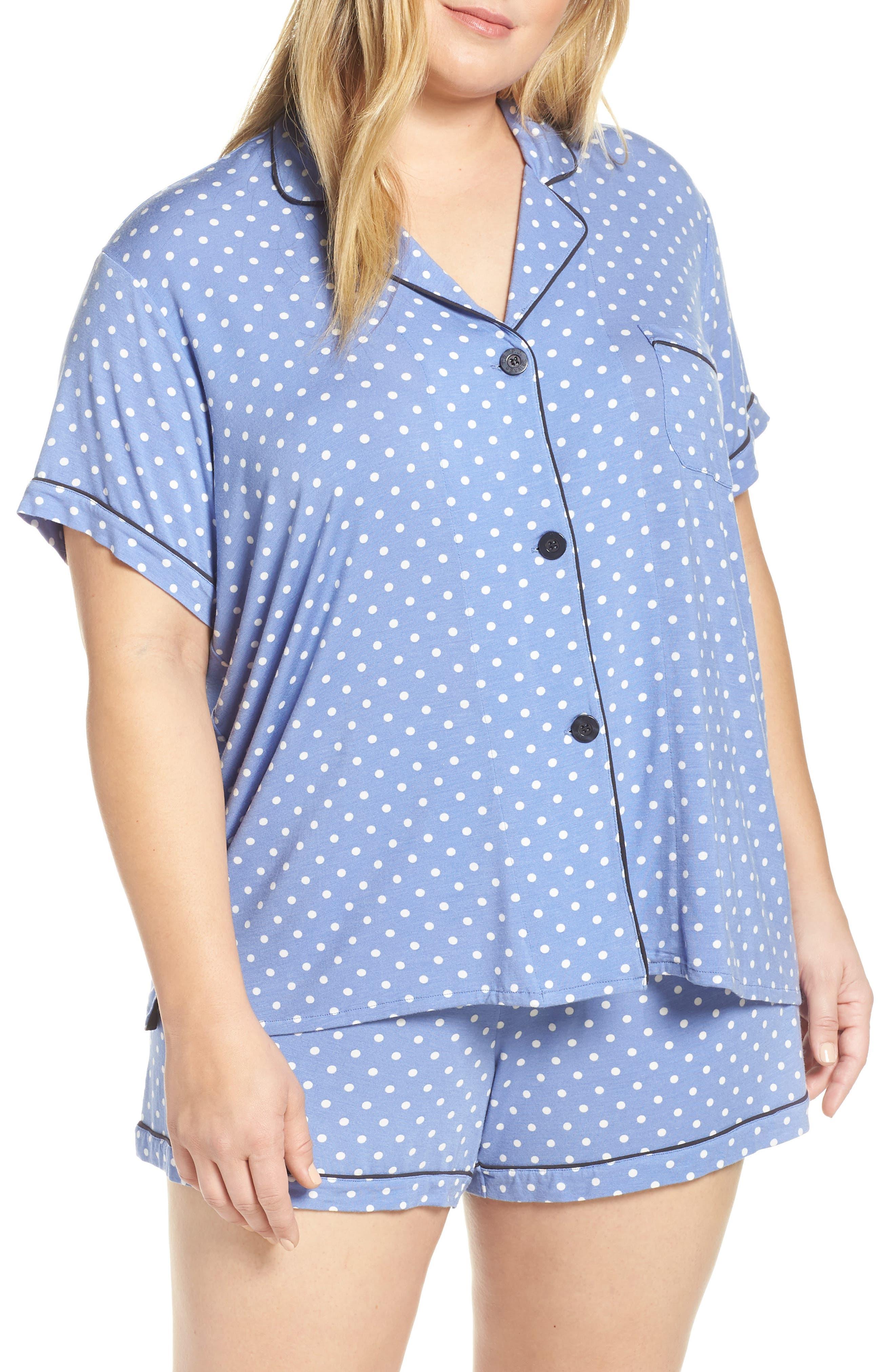 Plus Size Pj Salvage Peri Peri Short Pajamas, Blue