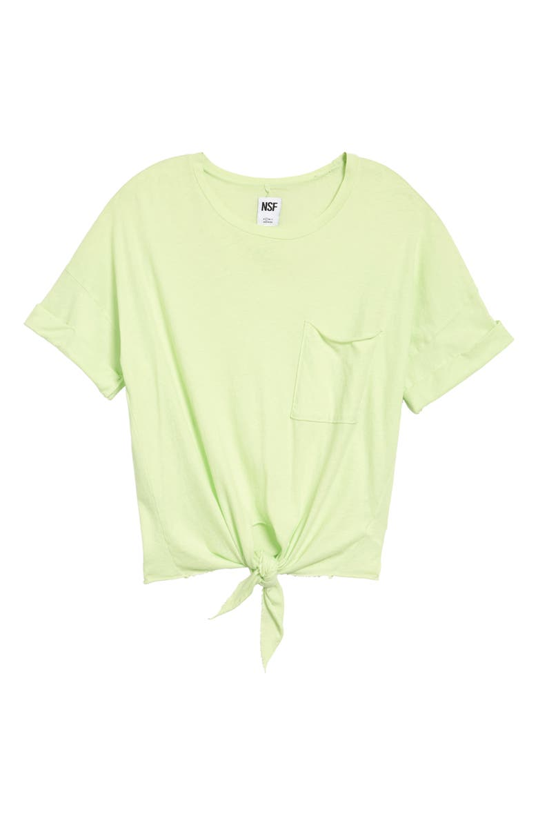 NSF CLOTHING Arlene Front Tie Crop Pocket T-Shirt, Main, color, 749