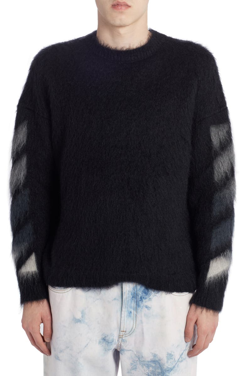 OFF-WHITE Brushed Mohair Blend Sweater, Main, color, BLACK MULTICOLOR