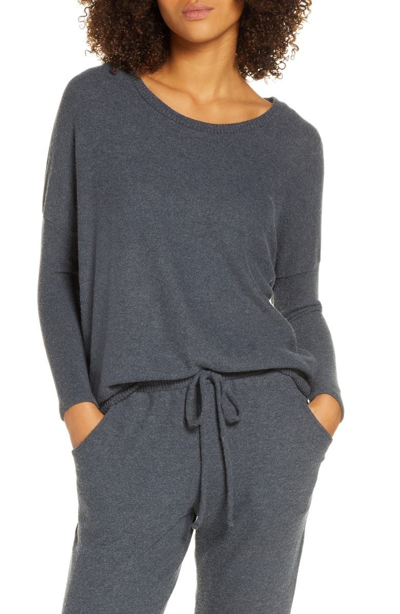 EBERJEY 'Cozy Time' Slouchy Long Sleeve Tee, Main, color, CHARCOAL HEATHER