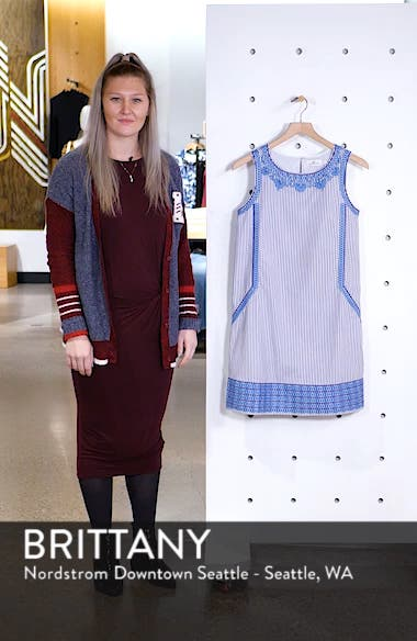 Embroidered Striped Shift Dress, sales video thumbnail