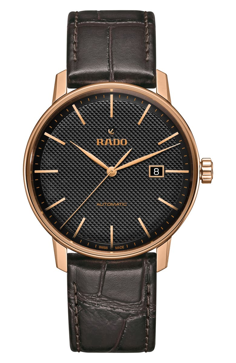 RADO Coupole Classic Automatic Leather Strap Watch, 41mm, Main, color, 001