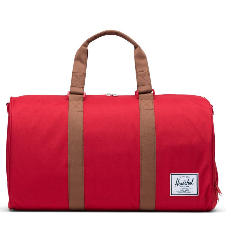 HERSCHEL SUPPLY CO. Duffle Bag, Main, color, RED/ SADDLE BROWN