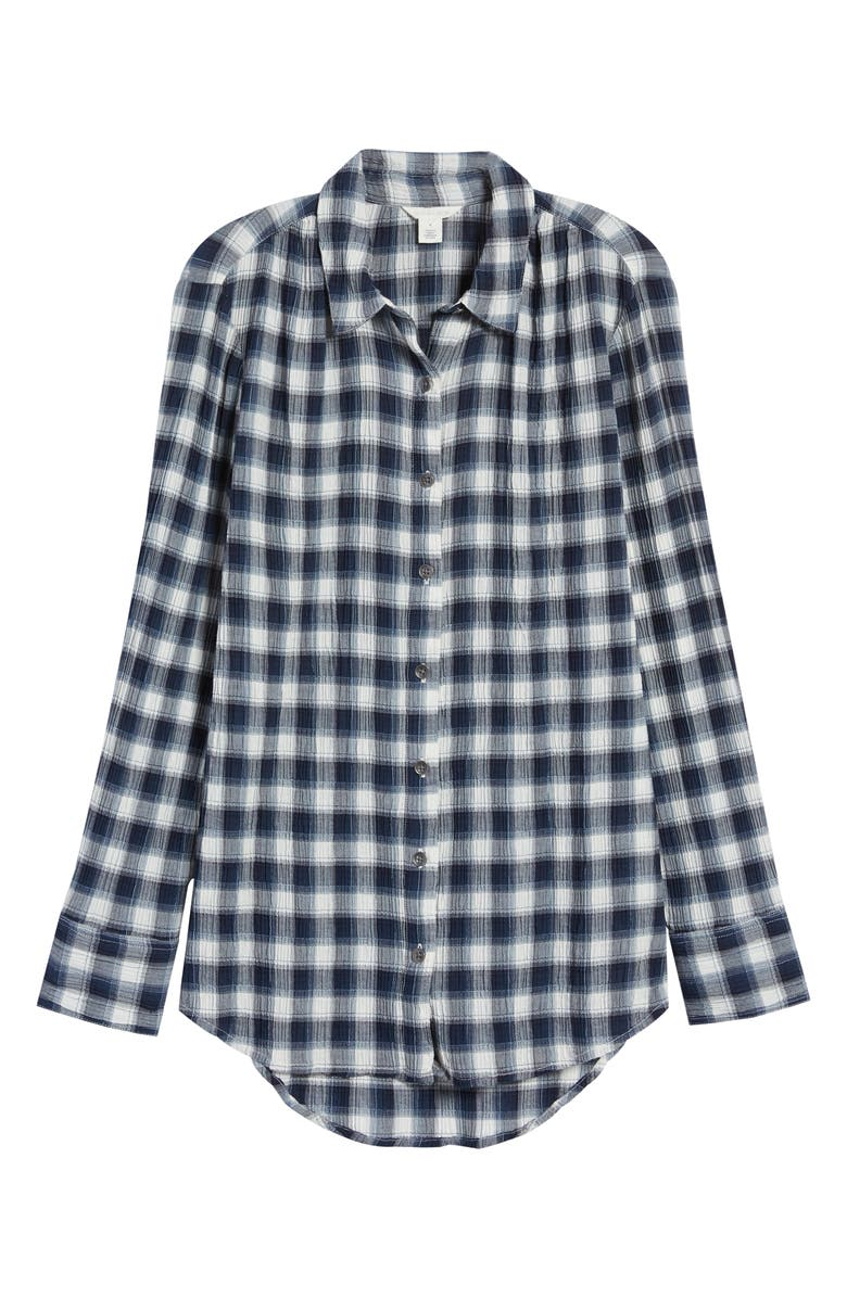 CASLON<SUP>®</SUP> Plaid Tunic Shirt, Alternate, color, IVORY- NAVY PLAID