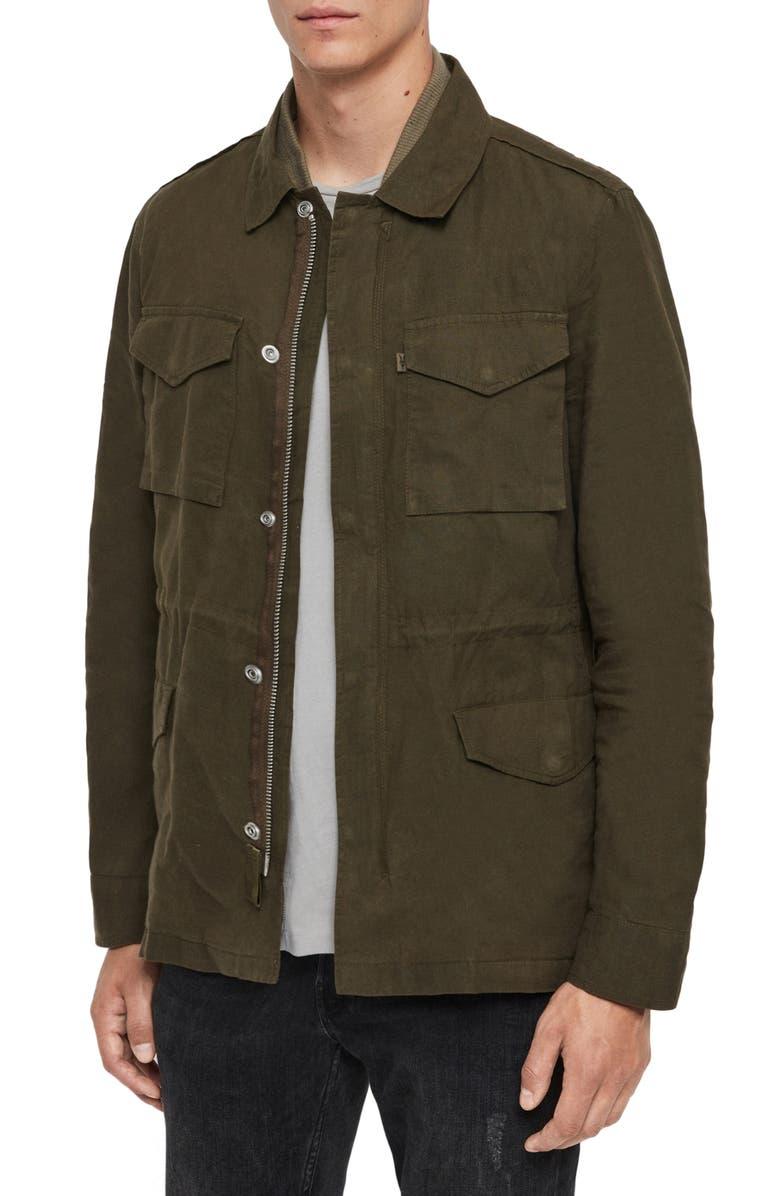 ALLSAINTS Baynes Jacket, Main, color, KHAKI/ BEECH GREEN