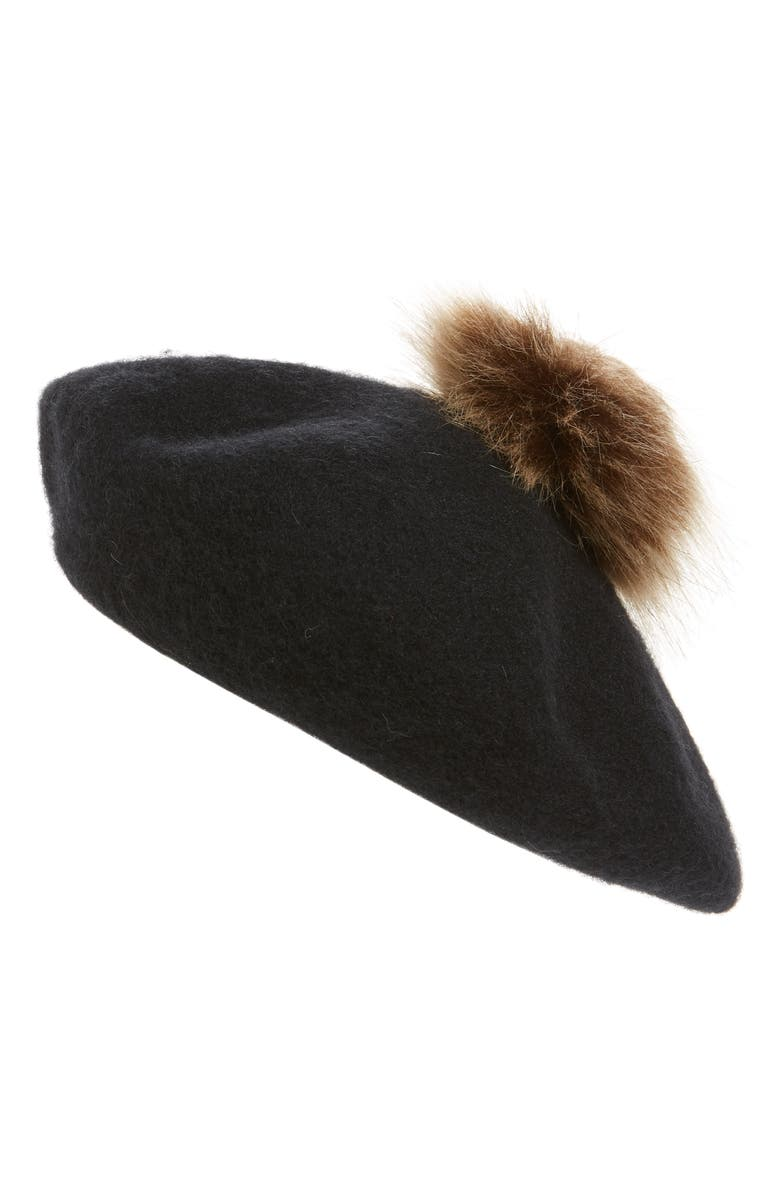BP. Felted Wool Blend Beret with Faux Fur Pom, Main, color, BLACK