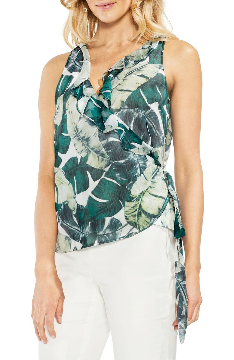 VINCE CAMUTO Jungle Palm Wrap Front Top, Main, color, 103