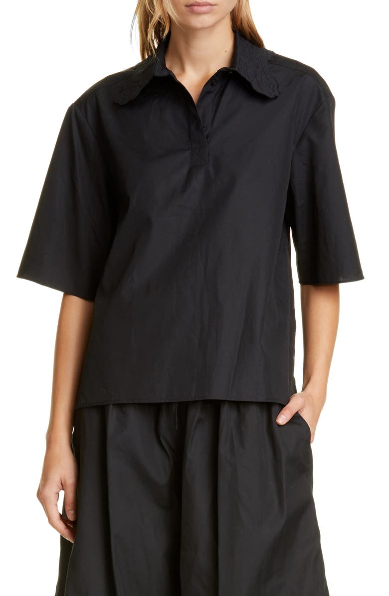 CECILIE BAHNSEN Allie Embroidered Collar Woven Polo Shirt, Main, color, BLACK