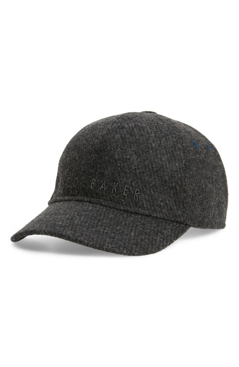 TED BAKER LONDON Gateshd Wool Blend Baseball Cap, Main, color, CHARCOAL