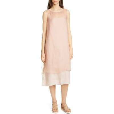 Eileen Fisher Sheer Silk Overlay, Beige