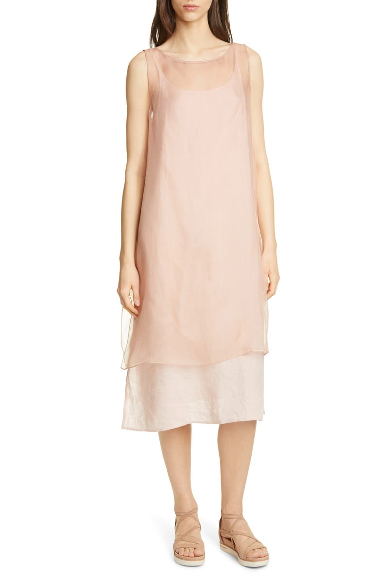 EILEEN FISHER Sheer Silk Overlay, Main, color, TOFFEE CREAM