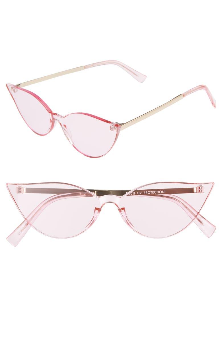 BP. 56mm Cat Eye Shield Sunglasses, Main, color, GOLD/PINK