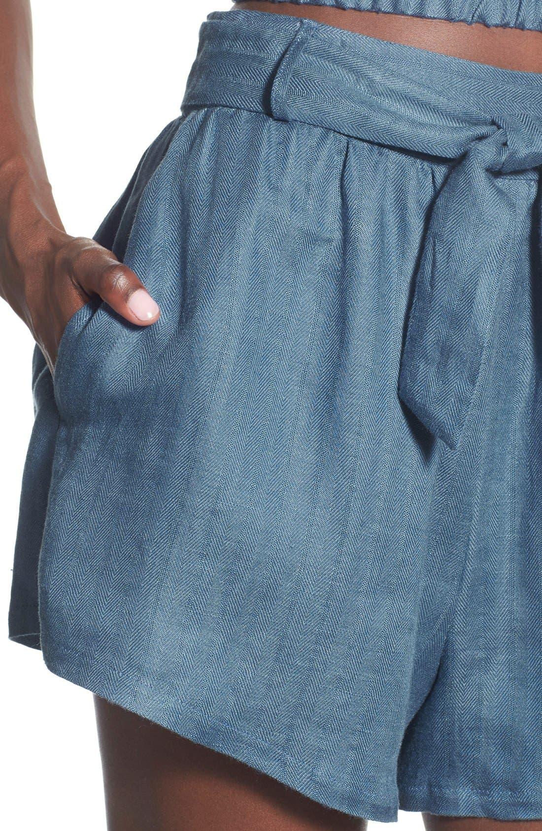 ,                             Tie Waist Linen Blend Shorts,                             Alternate thumbnail 3, color,                             400