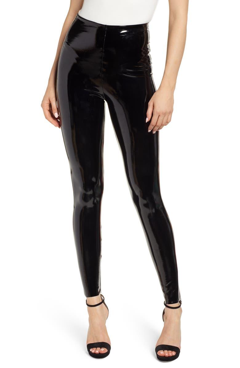 COMMANDO Control Top Faux Patent Leather Leggings, Main, color, BLACK