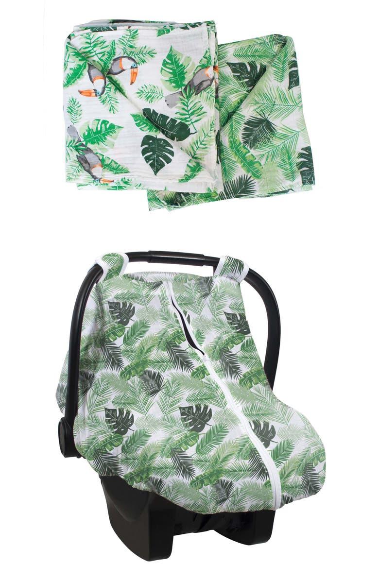 BÉBÉ AU LAIT Cotton Muslin Car Seat Cover & Swaddles Set, Main, color, RIO & PALMS