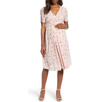 Isabella Oliver Lullah Floral Maternity Dress, (fits like 4 US) - Pink