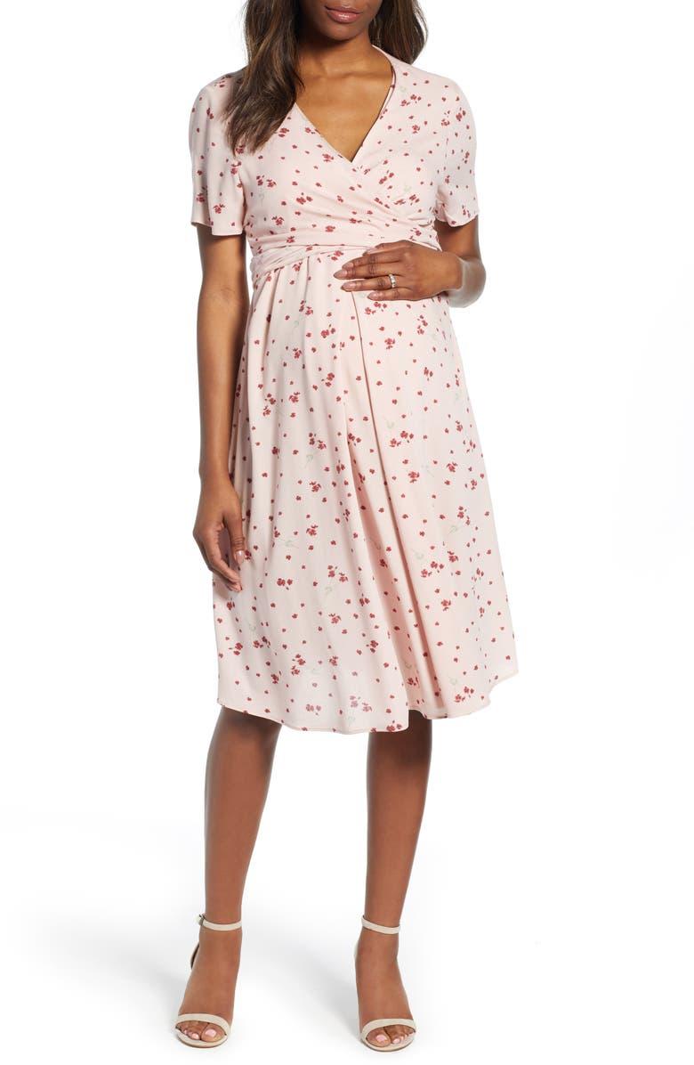 ISABELLA OLIVER Lullah Floral Maternity Dress, Main, color, BLUSH PETAL PRINT