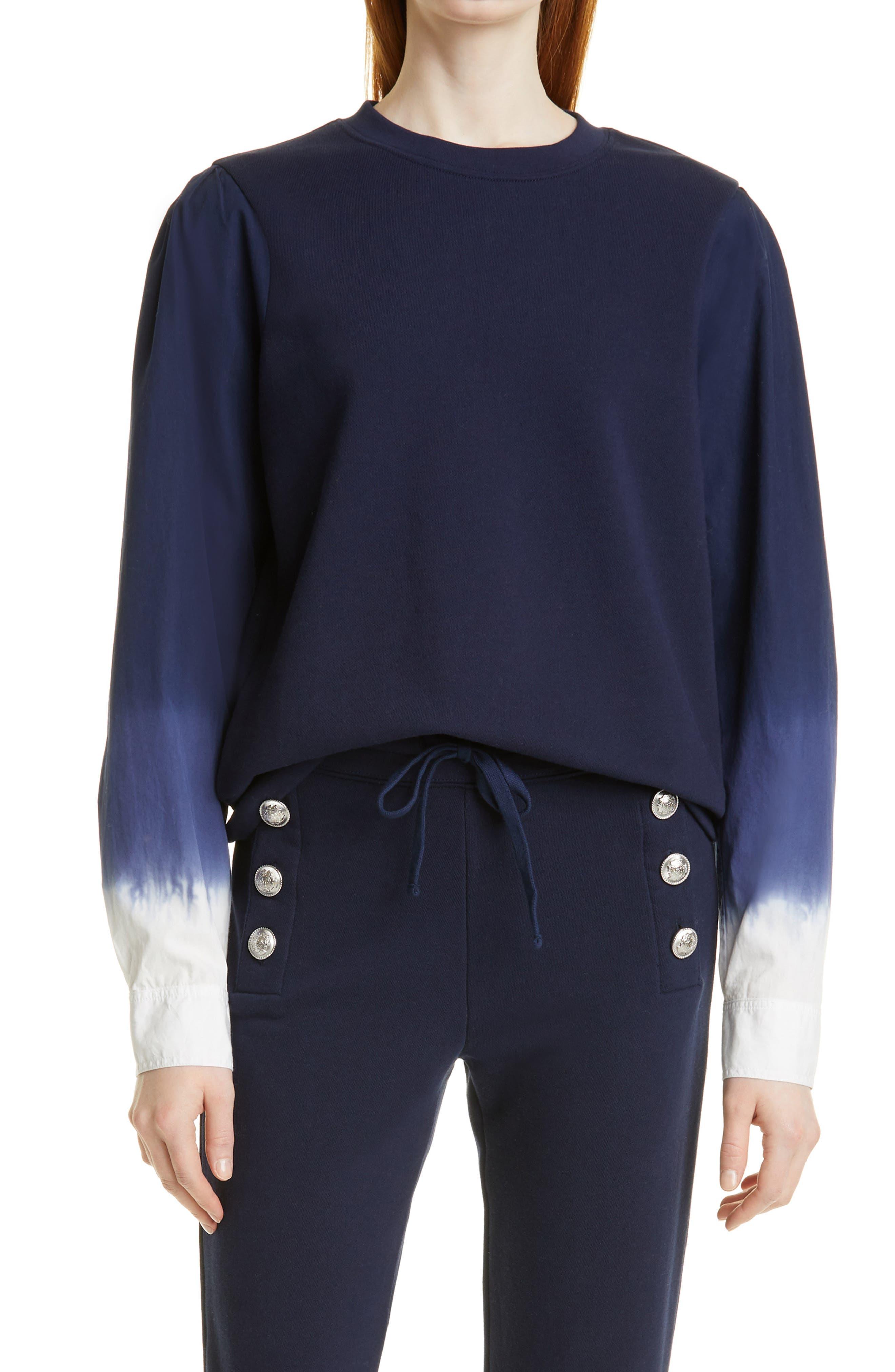 Mixed Media Crewneck Cotton Sweatshirt