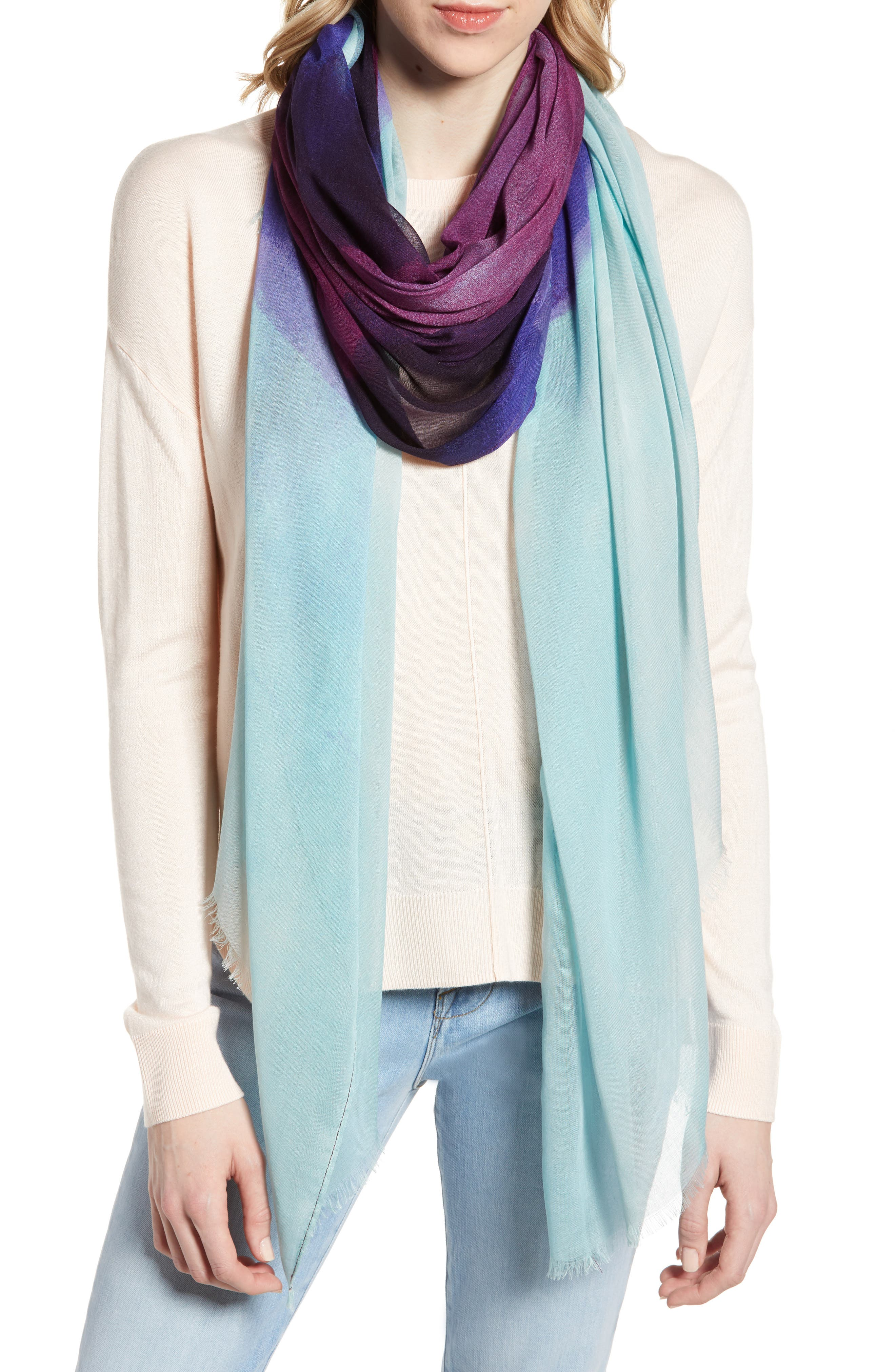 ,                             Print Modal & Silk Scarf,                             Main thumbnail 1, color,                             BLUE HEAVEN OMBRE PRINT