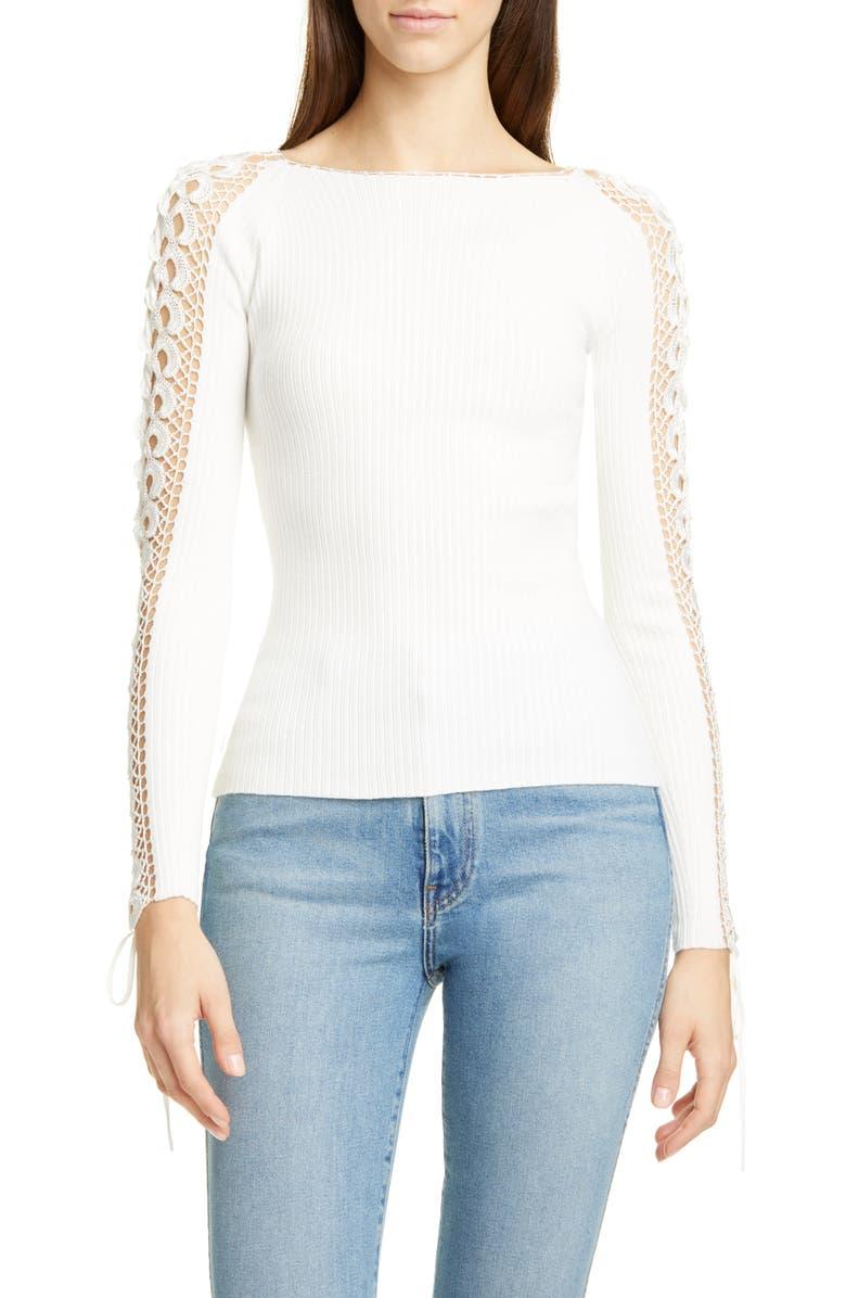 JONATHAN SIMKHAI Crochet Long Sleeve Sweater, Main, color, WHITE