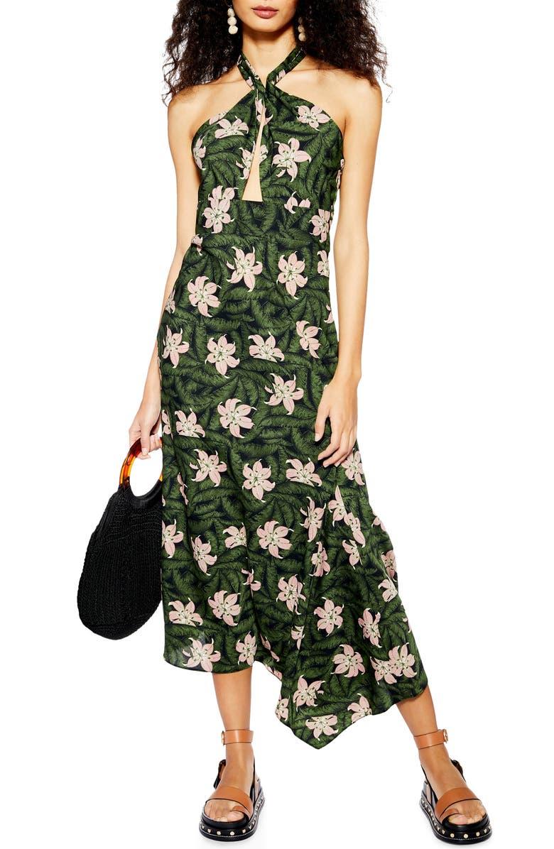 TOPSHOP Hibiscus Halter Midi Dress, Main, color, GREEN MULTI