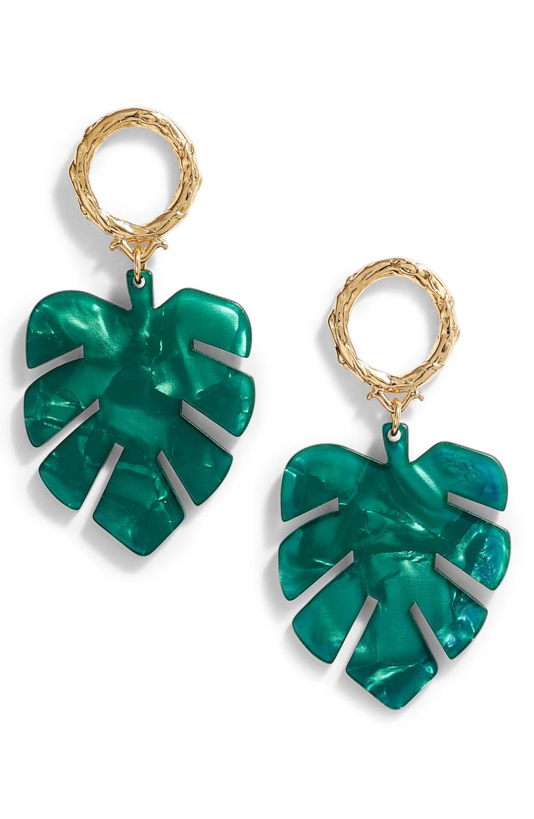 BRACHA Palm Drop Earrings, Main, color, GOLD / EMERALD GREEN