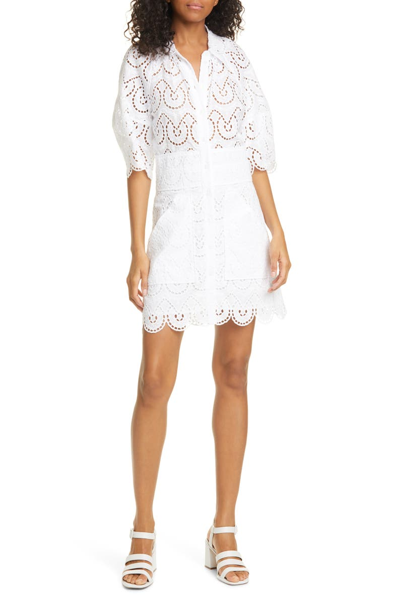 REBECCA TAYLOR Mina Cotton Eyelet Minidress, Main, color, 106