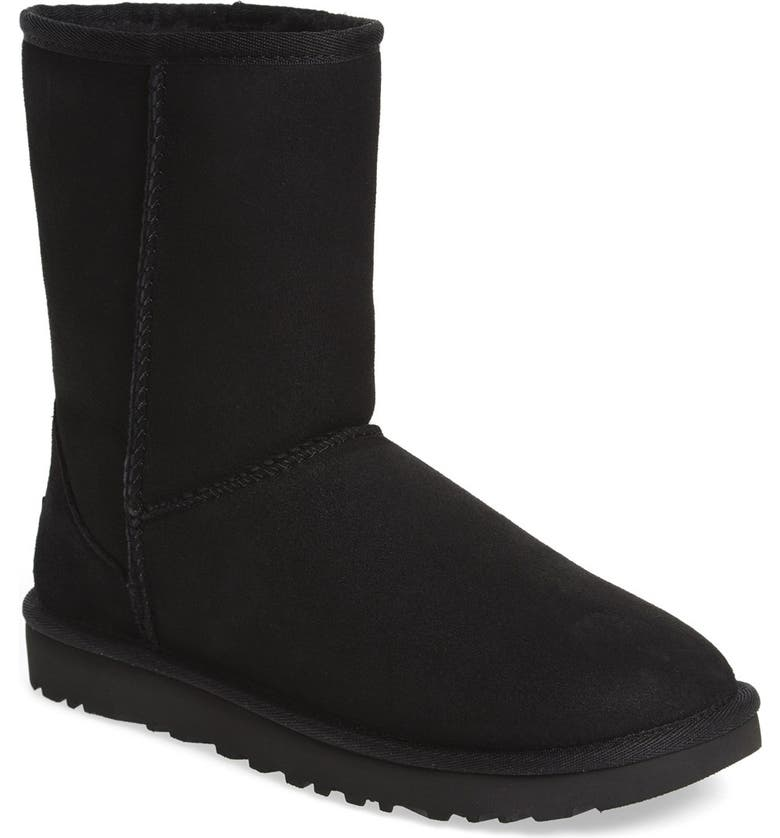 UGG<SUP>®</SUP> Classic II Genuine Shearling Lined Short Boot, Main, color, BLACK SUEDE