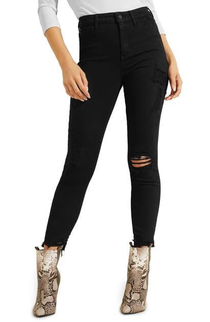 Guess Jeans 1981 DESTROYED HEM ANKLE SKINNY JEANS