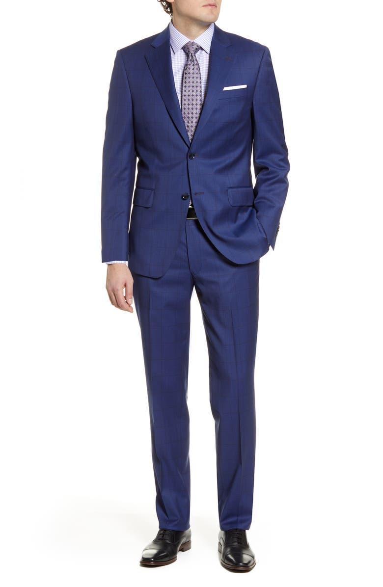 PETER MILLAR Classic Fit Plaid Wool Suit, Main, color, 400