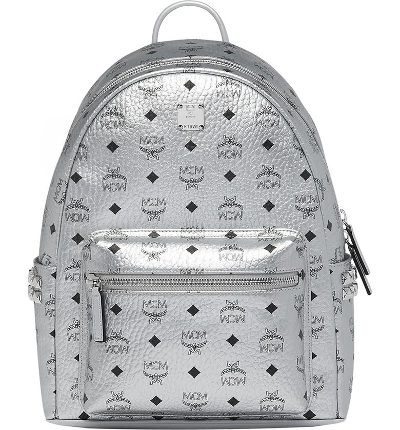 MCM Small Stark Side Stud Metallic Faux Leather Backpack, Main, color, BERLIN SILVER
