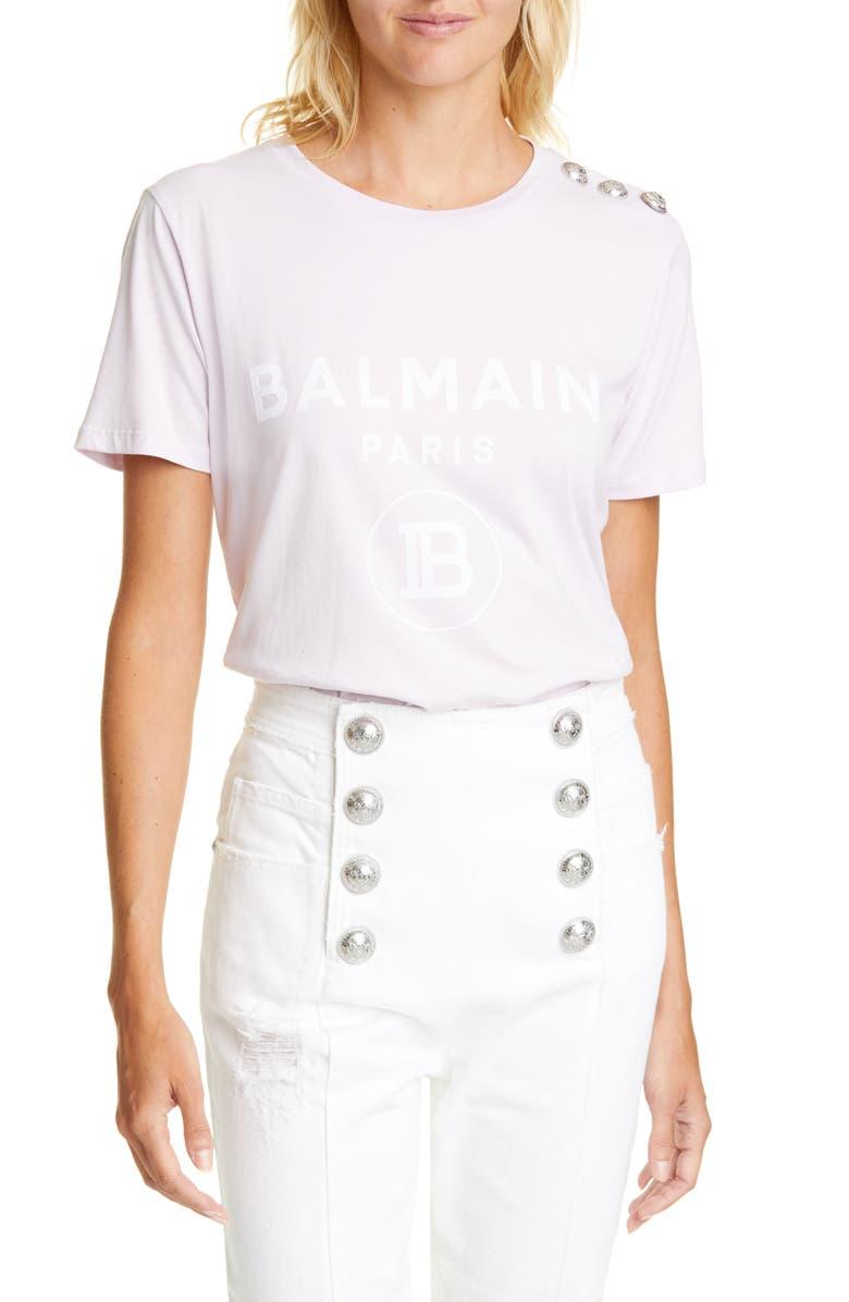 BALMAIN Button Shoulder Logo Tee, Main, color, LILAS/BLANC
