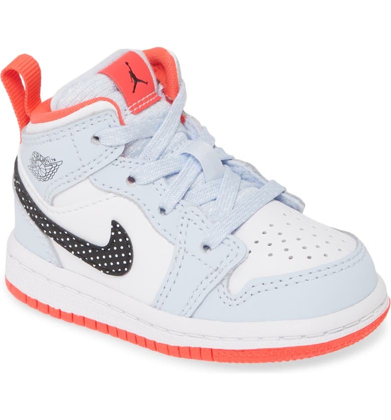 JORDAN Nike Air 'Jordan 1 Mid' Basketball Shoe, Main, color, HALF BLUE/ BLACK-WHITE-RED ORB