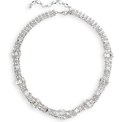 Cristabelle Crystal Baguette Thick Collar Necklace