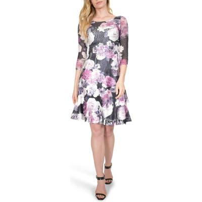 Petite Komarov Floral Charmeuse A-Line Dress, Purple