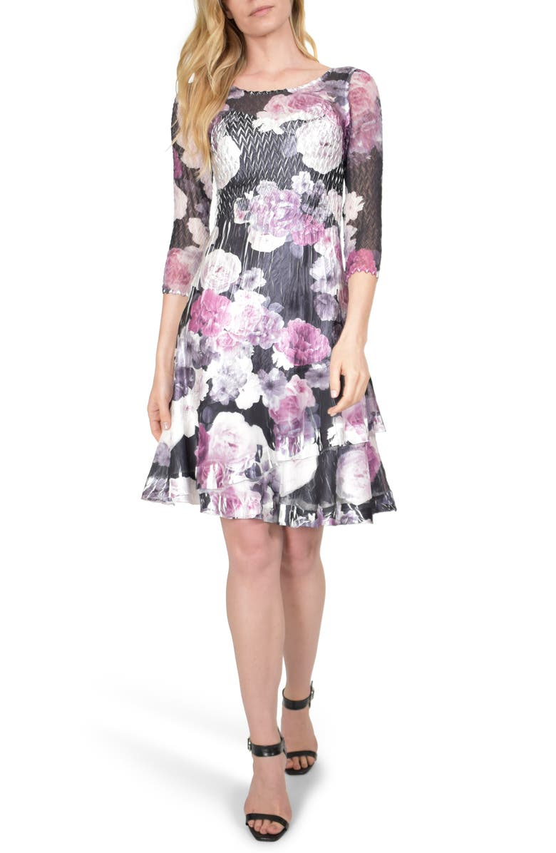 KOMAROV Floral Charmeuse A-Line Dress, Main, color, AUBERGINE LAYERS