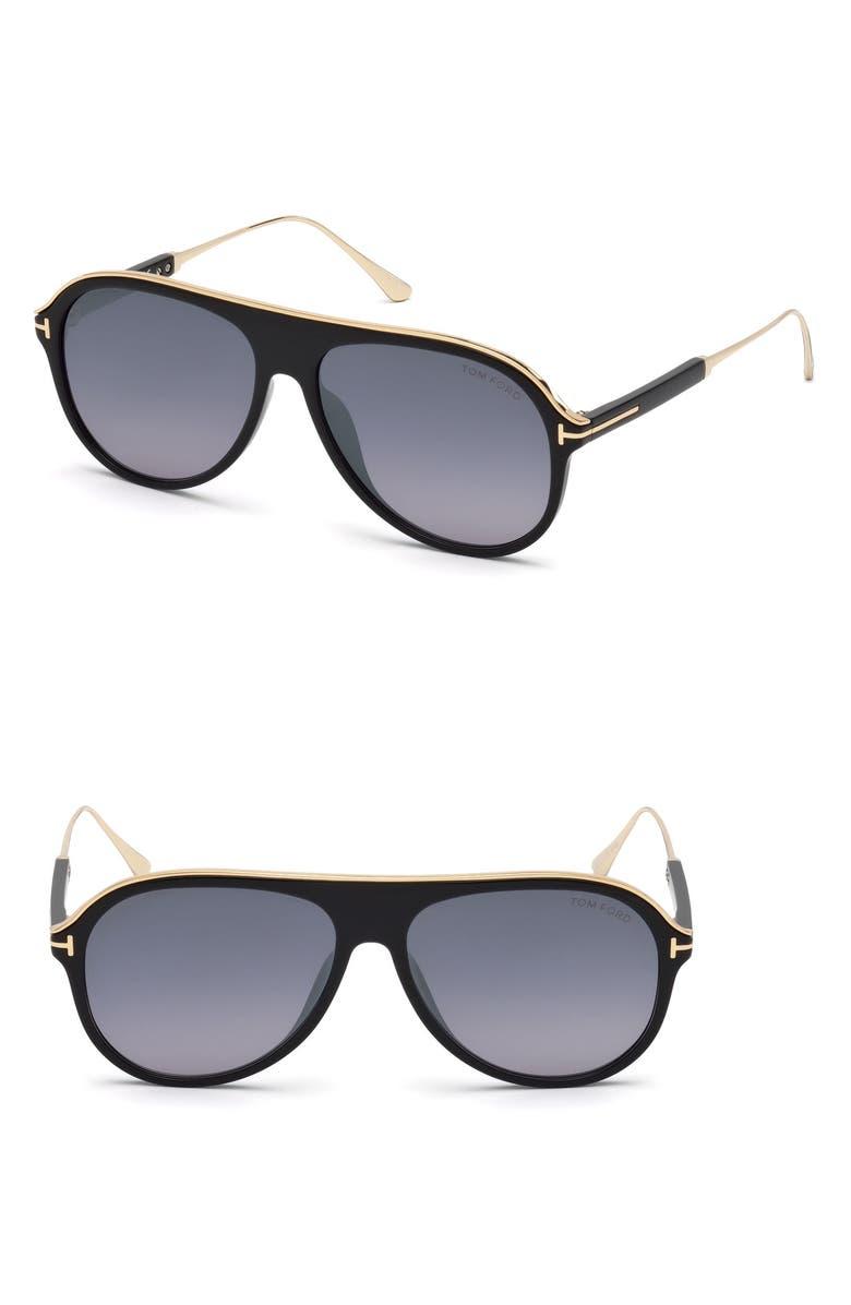TOM FORD Nicholai-02 57mm Sunglasses, Main, color, SHINY BLACK / SMOKE MIRROR