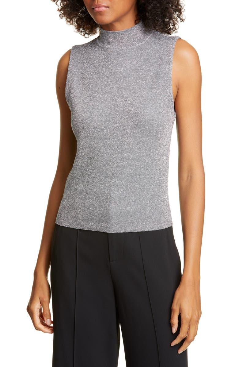 ALICE + OLIVIA Lanie Sleeveless Mock Neck Metallic Wool Blend Sweater, Main, color, SILVER